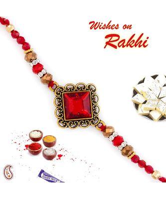Beautiful Red Stone Embellished Rakhi