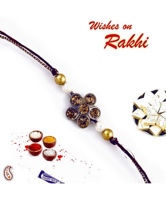 Double Raw Colour stones and gold beads Floral Shape Jewel Rakhi