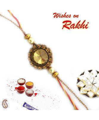 Copper Shade Ad Studded Charming Rakhi