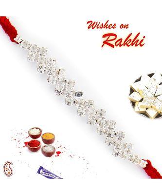 Floral Pattern Ad Studded Red Thread Rakhi