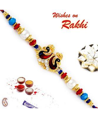 Multicolor Beads & Dual Swan Motif Rakhi