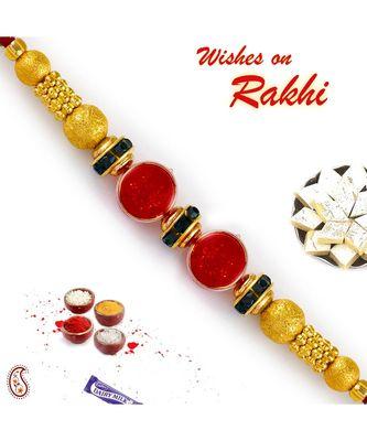 Dual Round Red Beads Rakhi