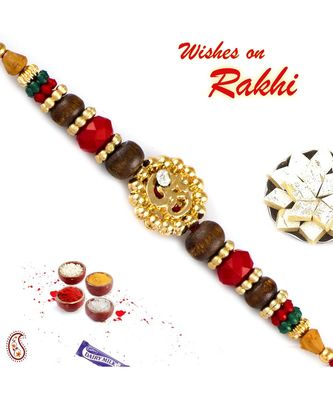 Multicolor Beads & AD Studded OM Rakhi