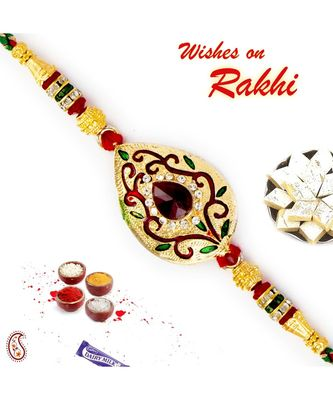 Multicolor Crystal Beads & AD Studded Golden Base Rakhi
