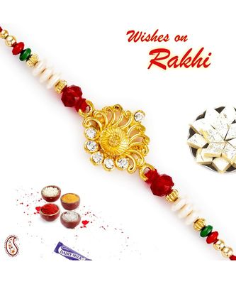 Stylsih Red & White Beads with AD Studded Rakhi