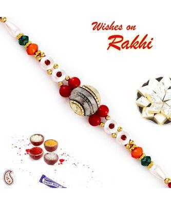 Beautiful Multicolor Round Beads Rakhi