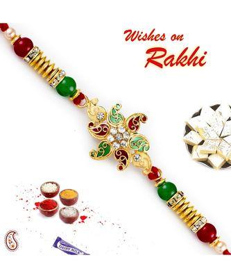 Red & Green Small Paisley Motif Rakhi