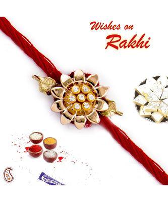 Golden Floral Design AD Studded Rakhi