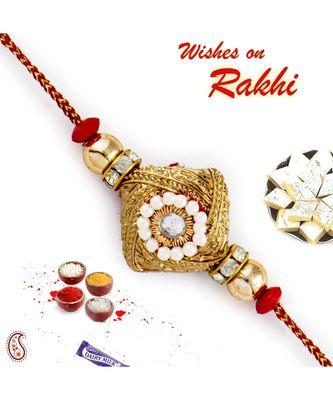 Golden & White Beads Studded Square Base Rakhi