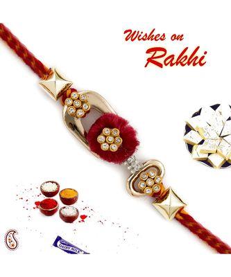Elegant Red base Metallic Rakhi Studded with AD