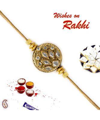 Beautiful Kundan Studded Golden Circular Rakhi