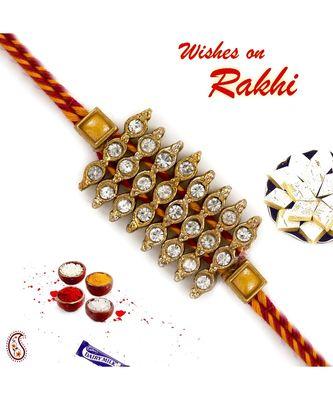 Pretty AD Studded Golden Rakhi
