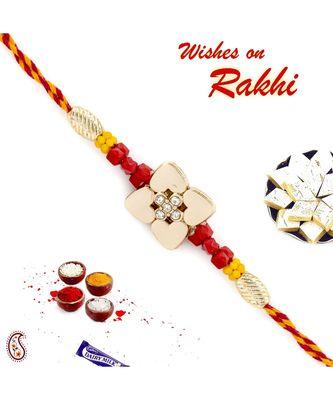 Metallic Flower Design Rakhi with Colouful Beads