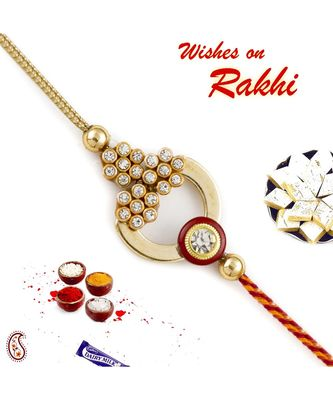 Golden & Red Ad Studded Beautiful Rakhi