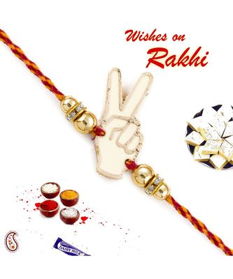 Metallic Peace Sign Rakhi with Golden Beads
