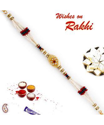 Multicolor Beads & Ad Studded Floral Style Bracelet Rakhi