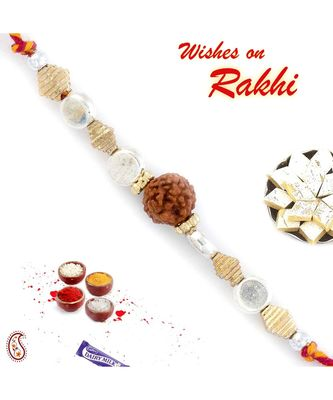 Silver & Gold Beads Rakhi With Solo Rudraksh