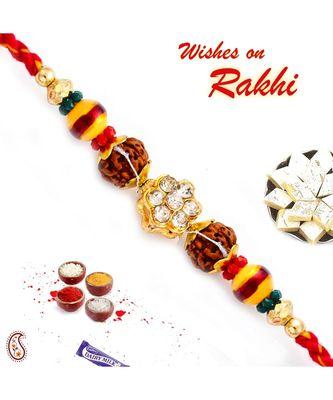 Multicolor Beads & Ad Studded Rudraksh Rakhi