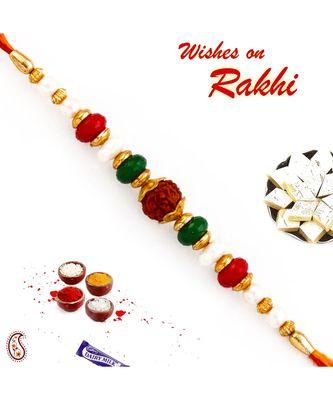 Pearl & Beads Studded Beautiful Rudraksh Rakhi