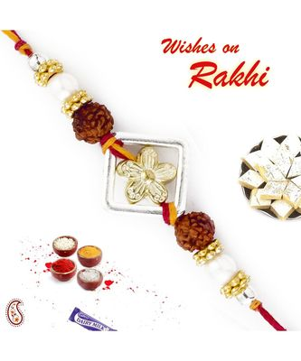 Golden Floral Style Rakhi with Dual Rudraksh