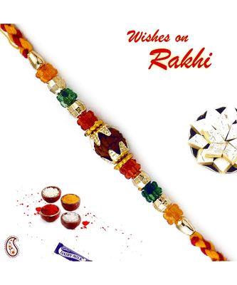 Multicolor Crystal Beads Rudraksh Rakhi