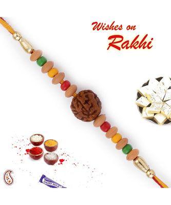 Multicolor Beads Rudraksh Rakhi
