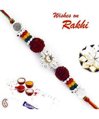 Multicolor Beads Rudraksh Floral Shape Rakhi
