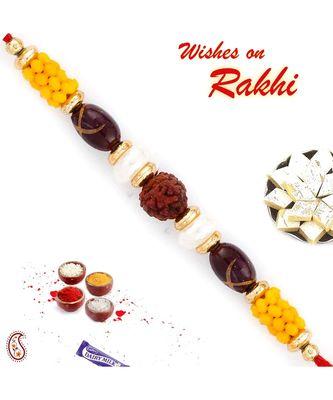 Lovely Yellow Beads Studded Rudraksh Rakhi