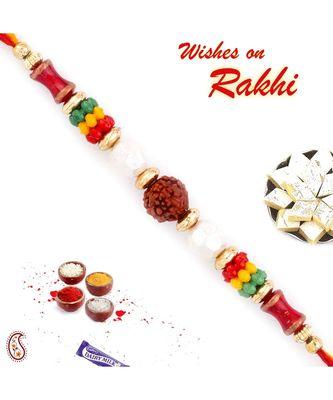 Multicolor Beads Studded Elegant & Sober Rudraksh Rakhi