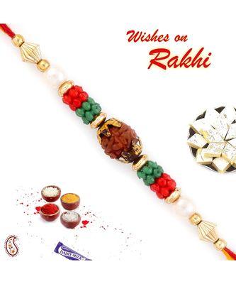 Red & Green Beads Studded Beautiful Rudraksh Rakhi