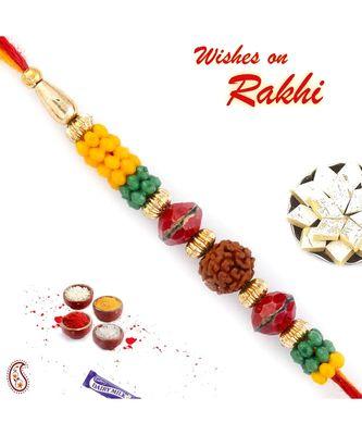 Yellow & Green Multiple Beads Studded Rudraksh Rakhi