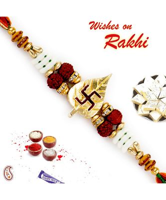 Golden Beetel Swastik Motif Quadra Rudraksh Rakhi