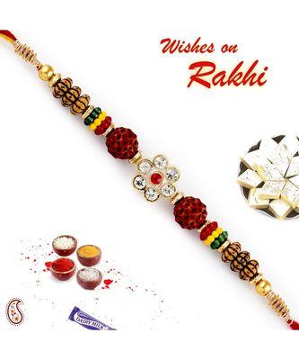 Ad Studded Floral Design Dual Rudraksh Rakhi