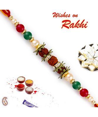 Multicolor Beads Studded Tri Rudraksh Rakhi