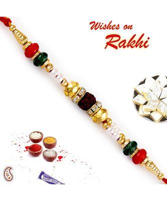 Multicolor Round Beads & Ad Studded Rudraksh Rakhi