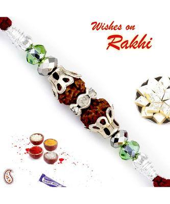 Sparkling Beads Studded Dual Rudraksh Rakhi