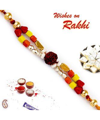 Multicolor Beads Dual String Rudraksh Rakhi