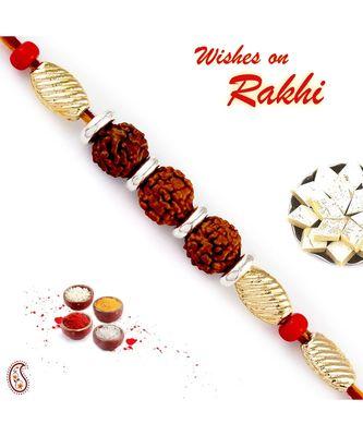 Golden Cylindrical Beads Tri Rudraksh Rakhi