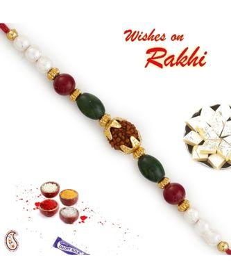 Pearl & Multicolor Beads Studded Rudraksh Rakhi