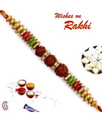 Multicolor Beads & Ad Studded Triple Rudraksh Rakhi