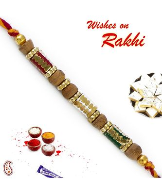 Sandalwood Rakhi With Colorful Thread
