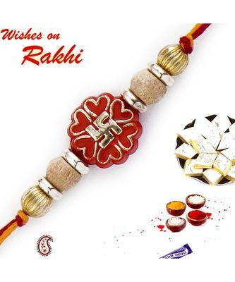 Stylish Golden Swastik Motif & Sandalwood Beads Rakhi