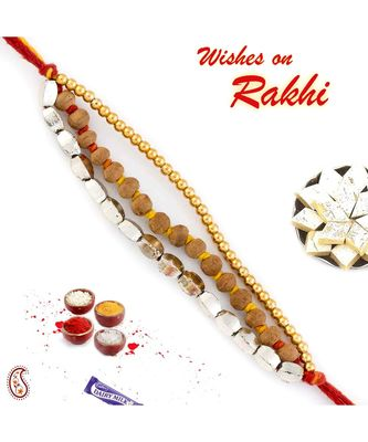 Elegant & Smart Golden Beads & Sandalwood Rakhi