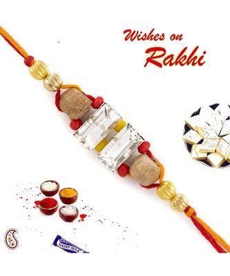 Golden Beads Dual Crystal Sandalwood Rakhi