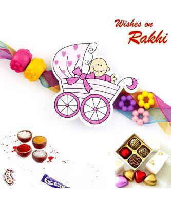 Sweet Toddler Multicolor Beads Kids Rakhi
