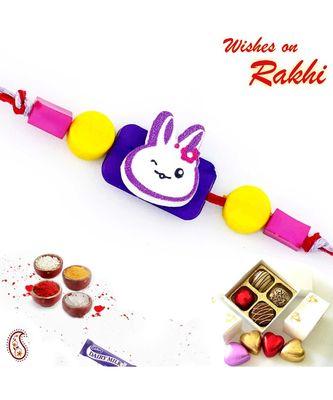 Sweet Little Multicolor Beads Embellished Kids Rakhi