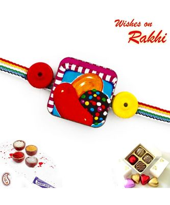 Multicolor Band Kids Rakhi With Candy Crush Motif