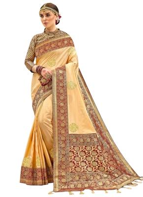 Beige plain silk saree with blouse