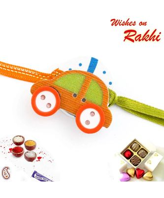 Lovely Green & Orange Car Motif Kids Rakhi