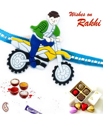 Cute Motor Bike Racer Motif Kids Rakhi